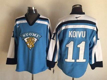 Men's Team Finland #11 Saku Koivu Nike Light Blue Vintage Throwback Jersey