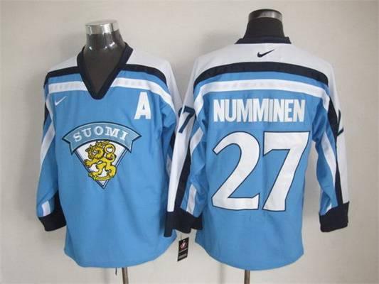 Men's Team Finland #27 Kalevi Numminen Nike Light Blue Vintage Throwback Jersey