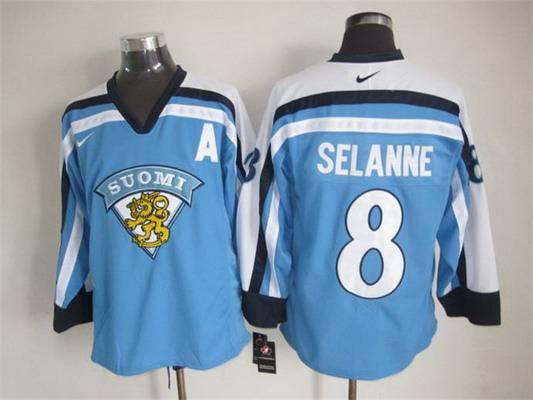 Men's Team Finland #8 Teemu Selanne Nike Light Blue Vintage Throwback Jersey