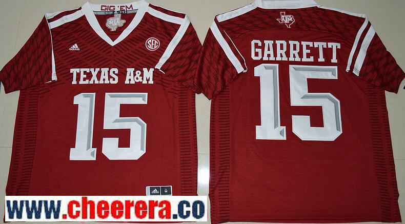 Men's Texas A&M Aggies #15 Myles Garrett Red Stitched NCAA adidas 2016 College Football Jersey