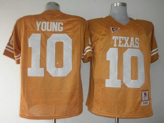 Men's Texas Longhorns #10 Vince Young Burnt Orange Throwback NCAA Football Jersey
