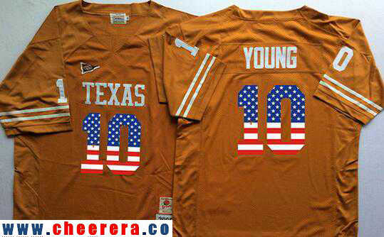 Men's Texas Longhorns #10 Vince Young Burnt Orange USA Flag Fashion Stitched Nike NCAA Jersey