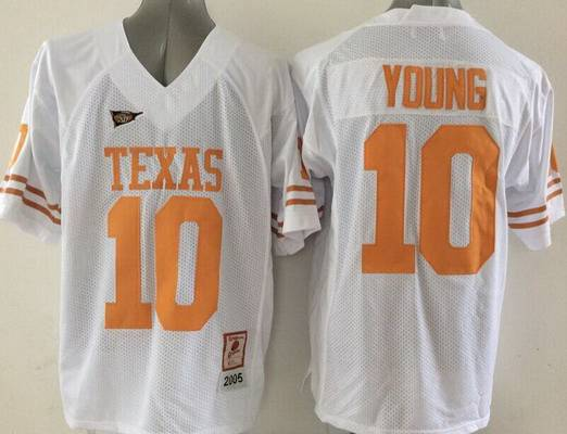 Men's Texas Longhorns #10 Vince Young Burnt White Throwback NCAA Football Jersey