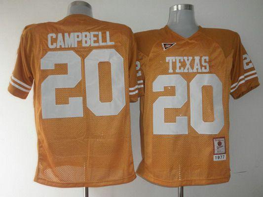 Men's Texas Longhorns #20 Earl Campbell Orange Throwback NCAA Football Jersey