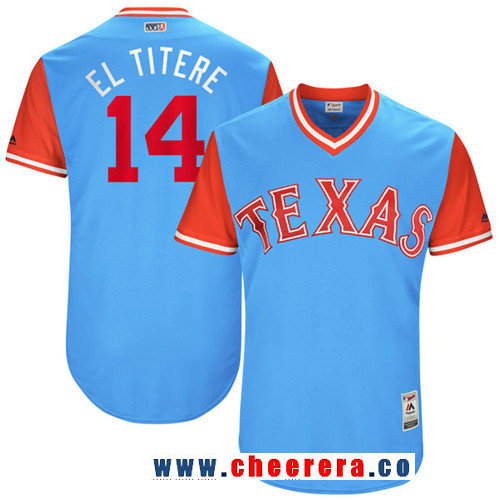 Men's Texas Rangers Carlos Gomez -El Titere- Majestic Light Blue 2017 Little League World Series Players Weekend Stitched Nickname Jersey