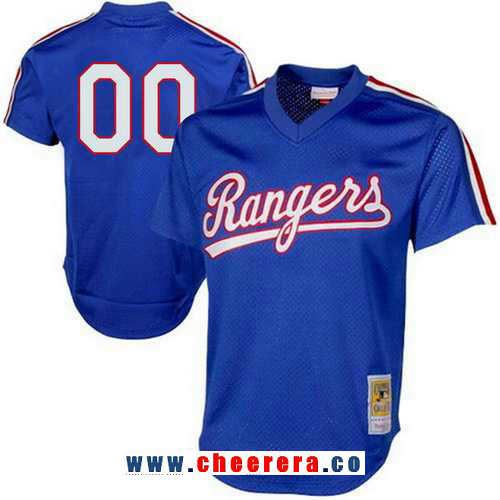 Men's Texas Rangers Royal Blue Mesh Batting Practice Throwback Majestic Cooperstown Collection Custom Baseball Jersey