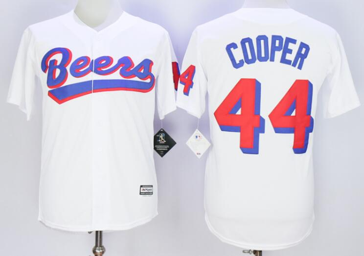 Men's The BASEketball Beers Movie #44 Joe COOP Cooper Button Down White Baseball Jersey