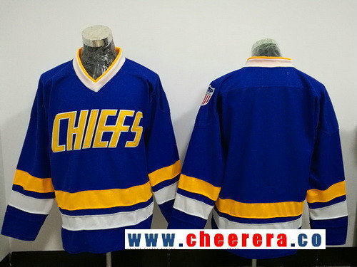 Men's The Movie Hanson Brothers Charlestown Chiefs Blank Blue Stitched Hockey Jersey