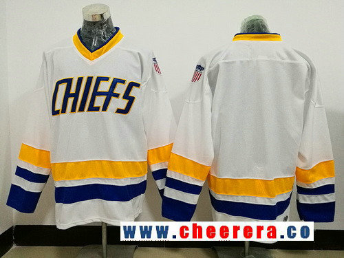Men's The Movie Hanson Brothers Charlestown Chiefs Blank White Stitched Hockey Jersey
