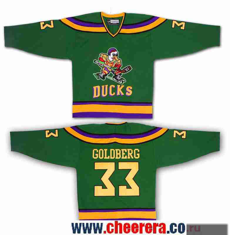 Men's The Movie The Mighty Ducks #33 Greg Goldberg Green Stitched Ice Hockey Jersey