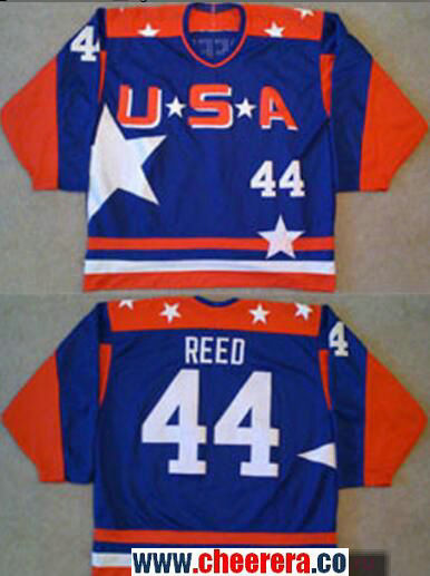 Men's The Movie The Mighty Ducks #44 Fulton Reed Blue Team USA Stitched Ice Hockey Jersey