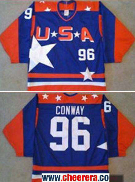 Men's The Movie The Mighty Ducks #96 Charlie Conway Blue Team USA Stitched Ice Hockey Jersey