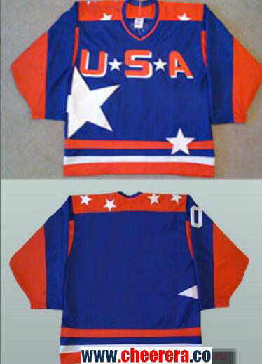 Men's The Movie The Mighty Ducks Blank Blue Team USA Stitched Ice Hockey Jersey