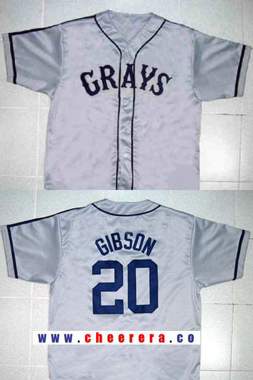 Men's The Movie USA Negro Leagues NLBM Homestead Grays #20 Josh Gibson Gray Stitched Baseball Jersey