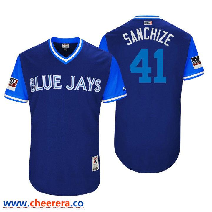 Men's Toronto Blue Jays Authentic Aaron Sanchez #41 Royal 2018 LLWS Players Weekend Sanchize Jersey