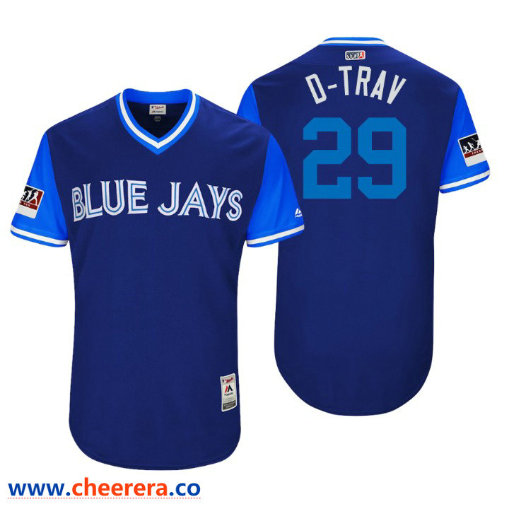 Men's Toronto Blue Jays Authentic Devon Travis #29 Royal 2018 LLWS Players Weekend D-Trav Jersey