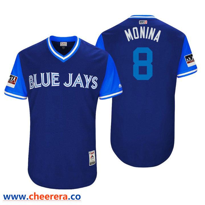 Men's Toronto Blue Jays Authentic Kendrys Morales #8 Royal 2018 LLWS Players Weekend Monina Jersey
