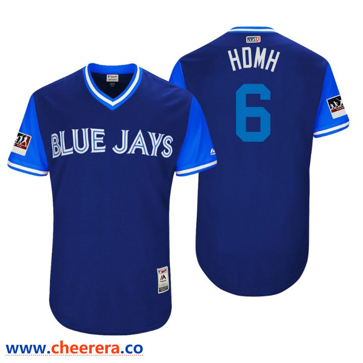 Men's Toronto Blue Jays Authentic Marcus Stroman #6 Royal 2018 LLWS Players Weekend Hdmh Jersey