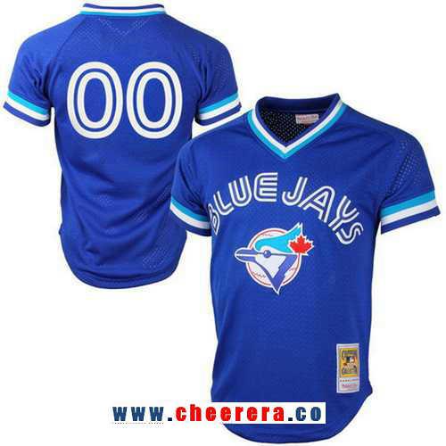 Men's Toronto Blue Jays Royal Blue Mesh Batting Practice Throwback Majestic Cooperstown Collection Custom Baseball Jersey