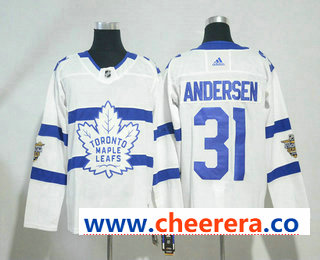 Men's Toronto Maple Leafs #31 Frederik Andersen White 2018 Winter Classic Stitched NHL Hockey Jersey