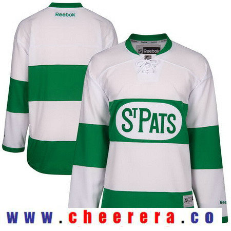 Men's Toronto Maple Leafs Custom Reebok White 2017 St. Patrick's Day Green Hockey Jersey