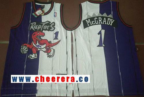 Men's Toronto Raptors #1 Tracy McGrady Purple White Two Tone Stitched NBA Hardwood Classic Swingman Jersey
