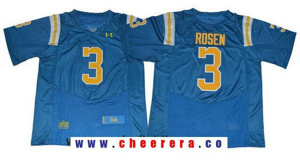 Men's UCLA Bruins #3 Josh Rosen Light Blue 2017 College Football Stitched Under Armour NCAA Jersey
