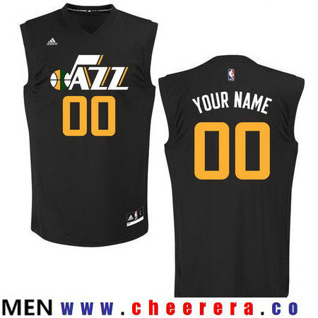 Men's Utah Jazz Custom adidas Black Fashion Basketball Jersey
