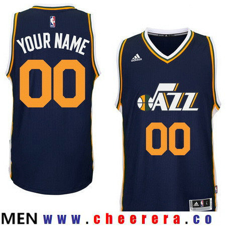 Men's Utah Jazz Navy Blue Custom adidas Swingman Road Basketball Jersey