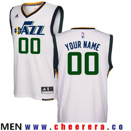 Men's Utah Jazz White Custom adidas Swingman Home Basketball Jersey