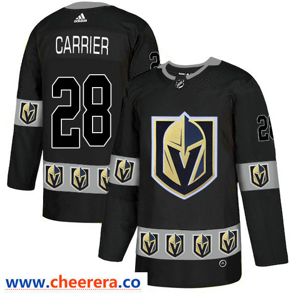 Men's Vegas Golden Knights #28 William Carrier Black Team Logos Fashion Adidas Jersey