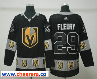 Men's Vegas Golden Knights #29 Marc-Andre Fleury Black Team Logos Fashion Adidas Jersey