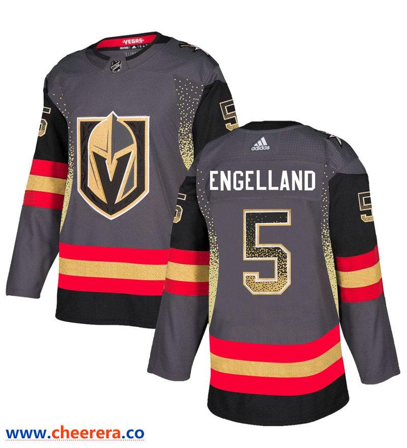 Men's Vegas Golden Knights #5 Deryk Engelland Gray Drift Fashion Jersey