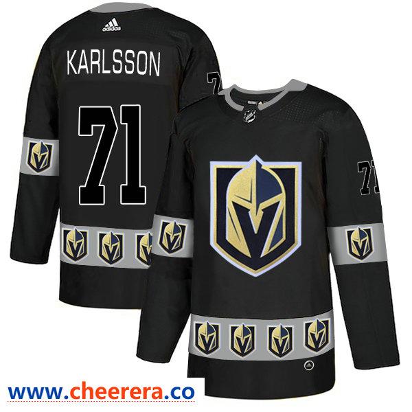 Men's Vegas Golden Knights #71 William Karlsson Black Team Logos Fashion Adidas Jersey