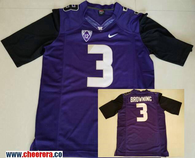 Men's Washington Huskies #3 Jake Browning Purple Limited Stitched College Football 2016 Nike NCAA Jersey