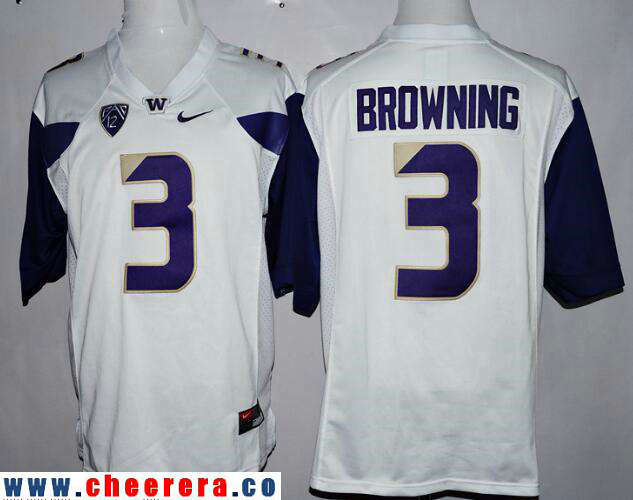 Men's Washington Huskies #3 Jake Browning White Limited Stitched College Football 2016 Nike NCAA Jersey
