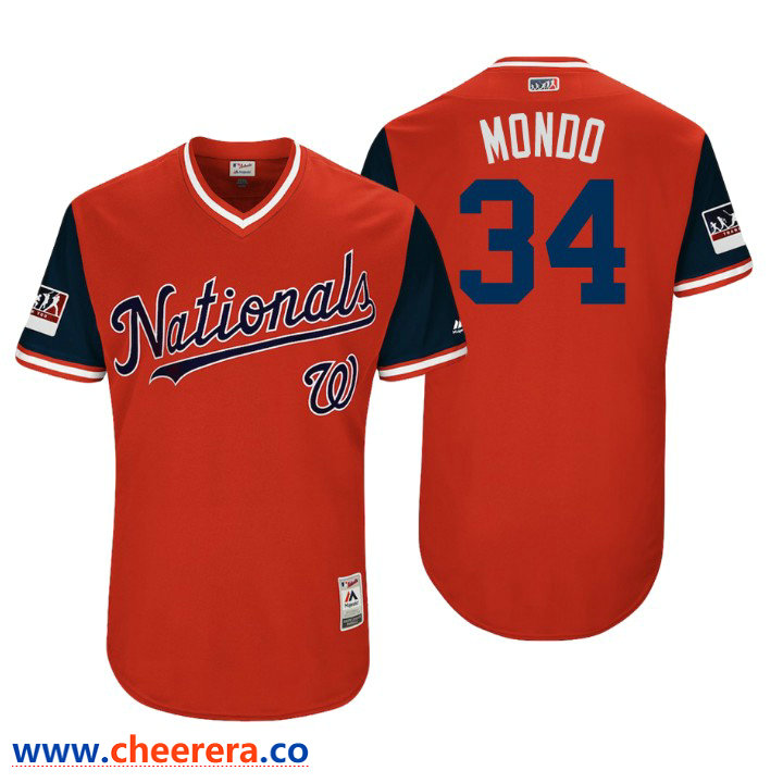 Men's Washington Nationals Authentic Bryce Harper #34 Red 2018 LLWS Players Weekend Mondo Jersey