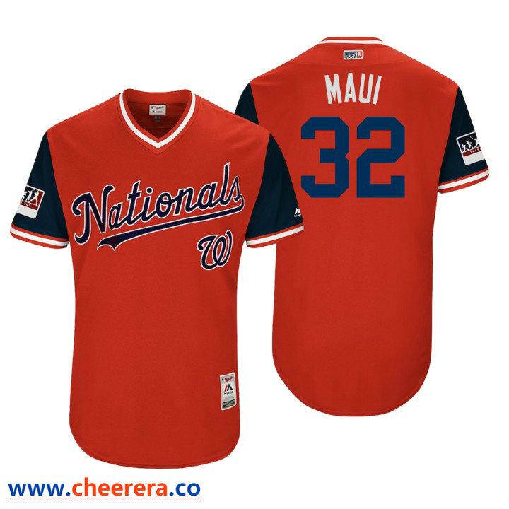Men's Washington Nationals Authentic Matt Wieters #32 Red 2018 LLWS Players Weekend Maui Jersey