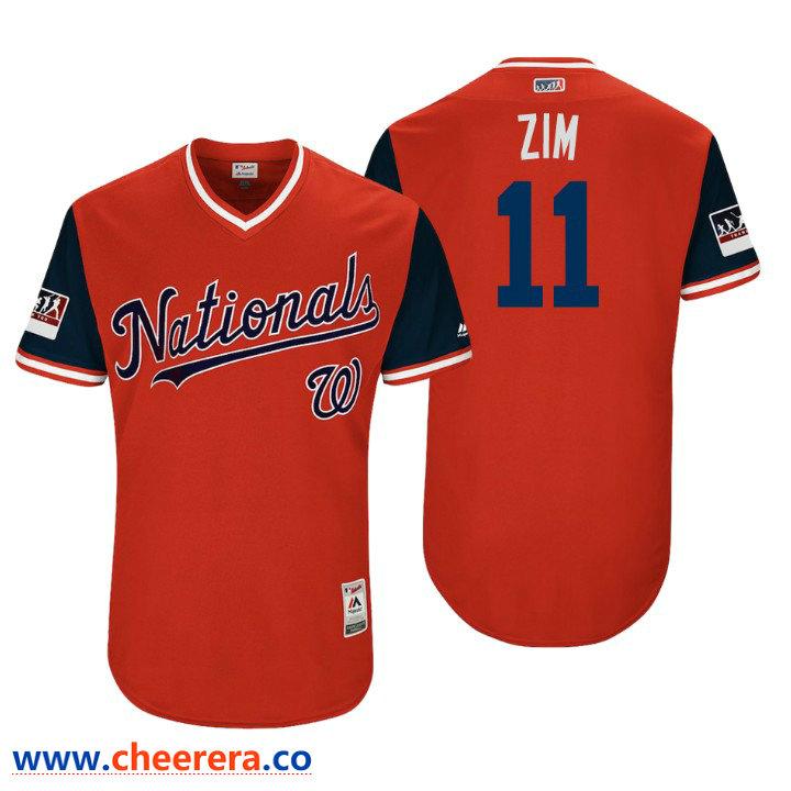 Men's Washington Nationals Authentic Ryan Zimmerman #11 Red 2018 LLWS Players Weekend Zim Jersey
