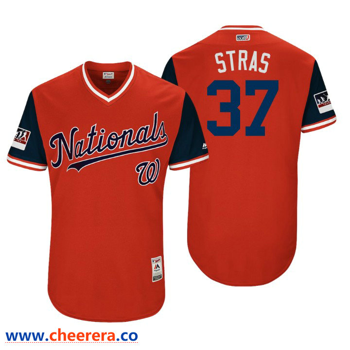Men's Washington Nationals Authentic Stephen Strasburg #37 Red 2018 LLWS Players Weekend Stras Jersey