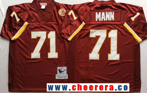 Men's Washington Redskins #71r Charles Mann Burgundy Red Throwback Stitched NFL Jersey by Mitchell & Ness