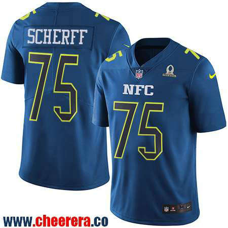 Men's Washington Redskins #75 Brandon Scherff Navy Blue NFC 2017 Pro Bowl Stitched NFL Nike Game Jersey