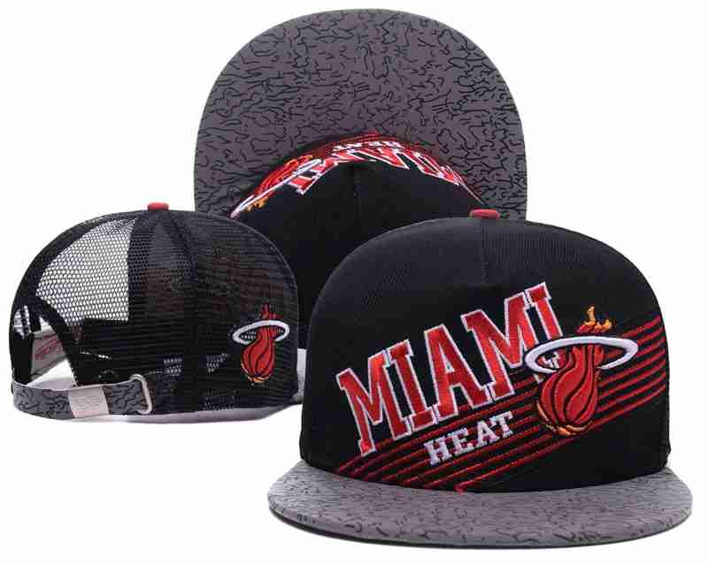 Miami Heat Mesh Snapback Hat Black-TX12