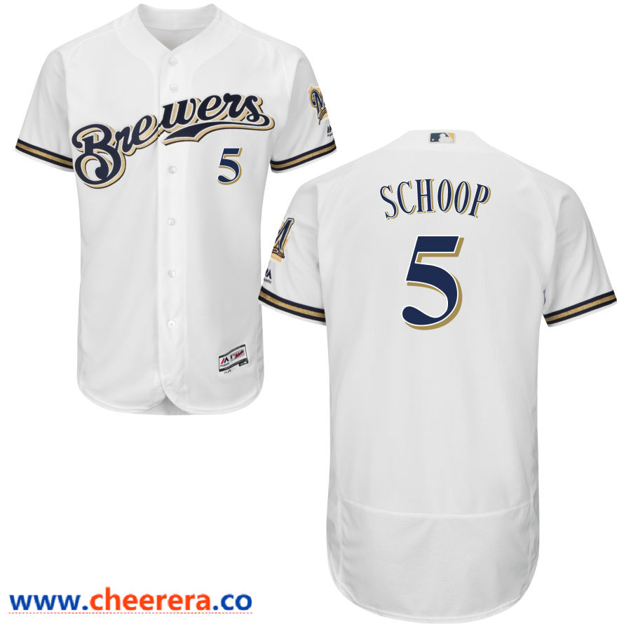 Milwaukee Brewers #5 Jonathan Schoop Majestic White Flex Base Jersey