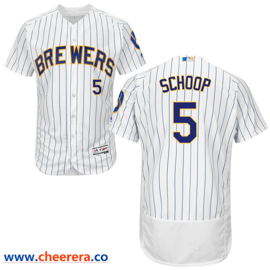 Milwaukee Brewers #5 Jonathan Schoop Majestic White Pinstripe Flex Base Jersey