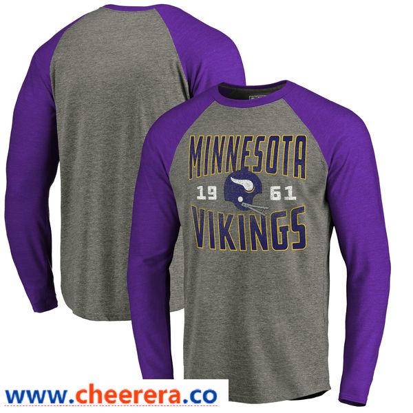 Minnesota Vikings NFL Pro Line by Fanatics Branded Timeless Collection Antique Stack Long Sleeve Tri-Blend Raglan T-Shirt Ash