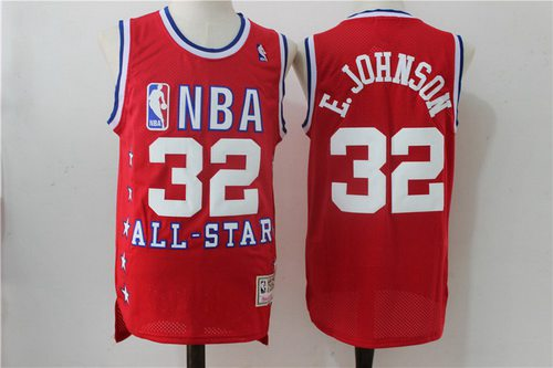 NBA 1989 All-Star #33 Earvin Magic Johnson Jr Red Hardwood Classics Soul Swingman Throwback Jersey