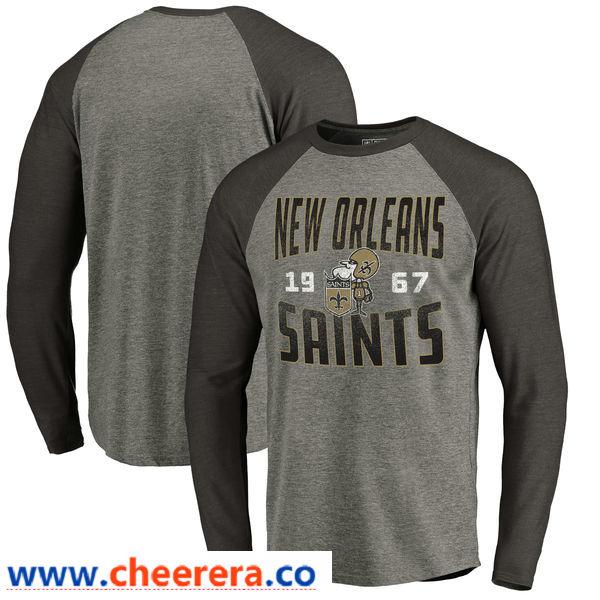 New Orleans Saints NFL Pro Line by Fanatics Branded Timeless Collection Antique Stack Long Sleeve Tri-Blend Raglan T-Shirt Ash