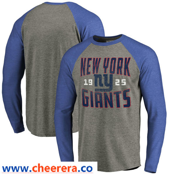 New York Giants NFL Pro Line by Fanatics Branded Timeless Collection Antique Stack Long Sleeve Tri-Blend Raglan T-Shirt Ash