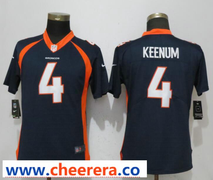 Nike Broncos 4 Case Keenum Navy Women Vapor Untouchable Limited Jersey